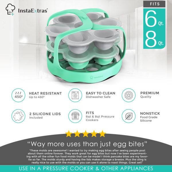 2PC Silicone Egg Bite Molds & Baking Sling